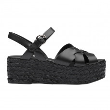 prada leather and raffia sandals