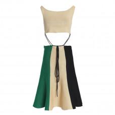 jw anderson tie front cutout color block linen blend dress