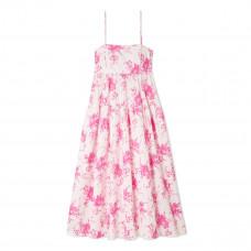 les reveries pleated floral print cotton poplin midi dress