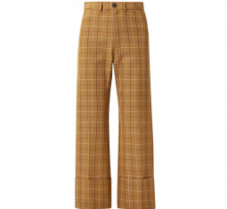 Poirot Cropped Checked Cotton-Blend Twill Straight-Leg Pants by Sea