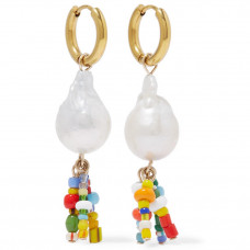 eliou shell gold plated pearl earrings