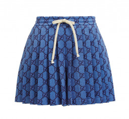 GG Pleated Technical-Jersey Shorts by Gucci