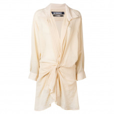 jacquemus alassio draped shirt dress