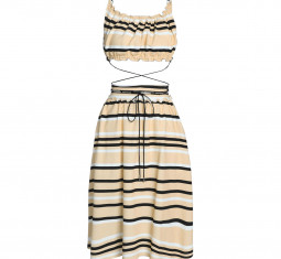 Ruffle-Trimmed Striped French Cotton-Terry Dress by JW Anderson