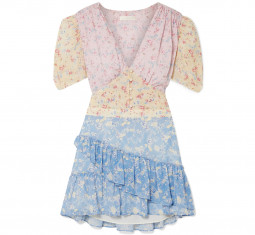 Bea Ruffled Floral-Print Silk-Georgette Mini Dress by LoveShackFancy