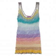 rose carmine metallic striped crochet knit tank