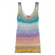 rose carmine metallic striped crochet knit tank