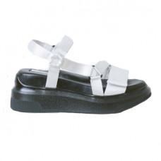 suzanne rae white velcro sandal