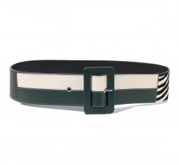Zebra-Print Calf Hair, Metallic and Matte Leather Belt by Marni