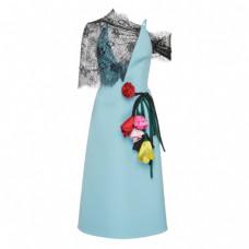 prada lace paneled appliqued gabardine dress