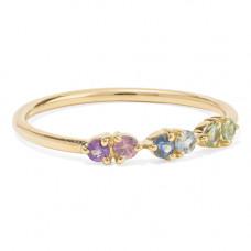 wwake 14 karat gold multi-stone ring