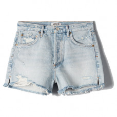agolde jaden hi rise cut off short in broken
