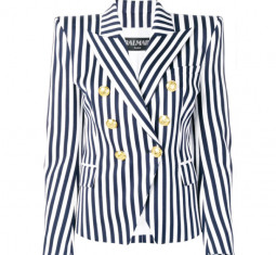 Striped Double Breasted Blazer by Balmain