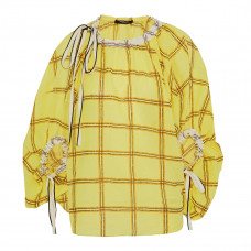 derek lam bow detailed embroidered checked cotton gauze blouse