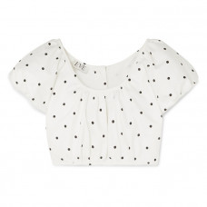 eve denim georgette cropped polka dot cotton blend twill top