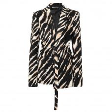house of holland belted zebra print cotton canvas blazer