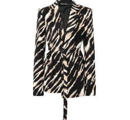 Belted Zebra-Print Cotton-Canvas Blazer by House of Holland