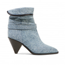 isabel marant luam leather trimmed denim ankle boots