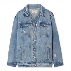 madewell oversized distress denim jacket