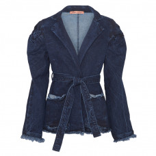 maggie marilyn net sustain george iii knotted frayed denim jacket