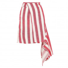 marques almeida asymmetric striped linen and cotton blend wrap skirt