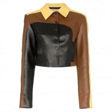 materiel colour block leather jacket
