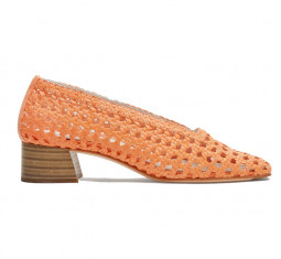 Taissa Neon Orange Leather Mid-Heels by Miista