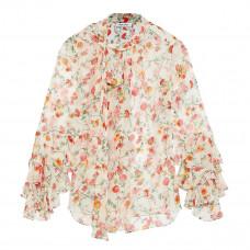 prabal gurung ruffle trimmed floral print silk chiffon blouse