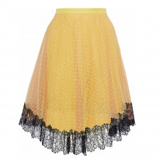red valentino lace trimmed point d'esprit skirt