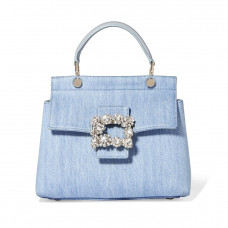 roger vivier crystal embellished leather trimmed denim tote