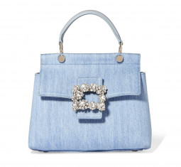 Crystal-Embellished Leather-Trimmed Denim Tote by Roger Vivier