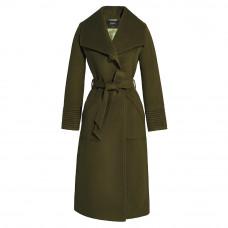 sentaler long wide collar wrap coat army green