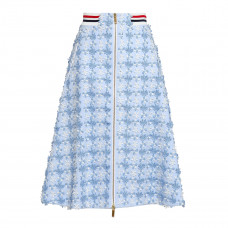 thom browne floral appliqued cotton pique midi skirt