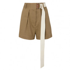 tibi pleated belted linen blend twill shorts