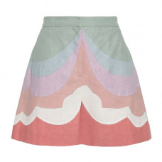 valentino color block linen shorts