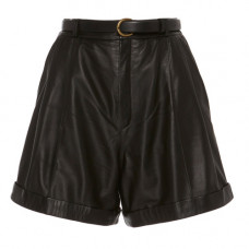 zeynep arcay pleated leather shorts