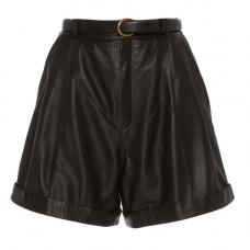 zeynep arcay pleated leather shorts