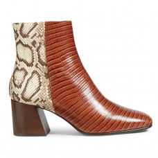 freda salvador charm snake and croc embossed leather heeled ankle boots