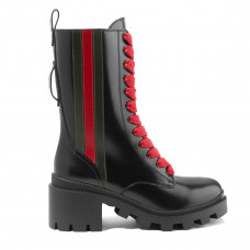 gucci trip striped glossed leather ankle boots