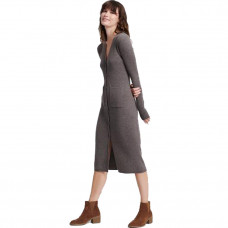 naadam cashmere ribbed cardigan dress heathered brown