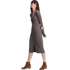 naadam cashmere ribbed cardigan dress heathered brown