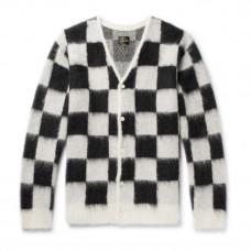 needles checkerboard mohair blend cardigan