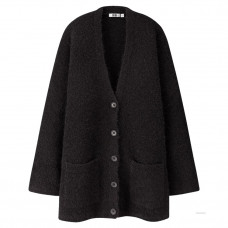 uniqlo u wool blend boucle knit coat
