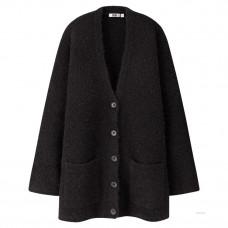 uniqlo u wool blend boucle knit coat