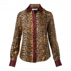 victoria beckham silk blouse in python print