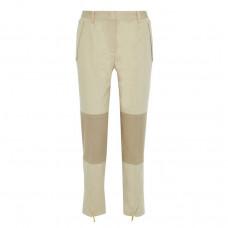 alberta ferretti cropped two tone cotton blend twill tapered pants