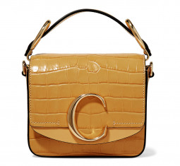 C Mini Smooth and Croc Effect Leather Shoulder Bag by Chloé
