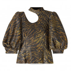 ganni tiger print cutout lurex blouse