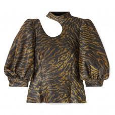 ganni tiger print cutout lurex blouse