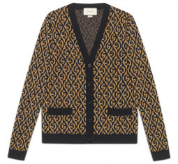 G Rhombus Lamé Wool Jacquard Cardigan by Gucci